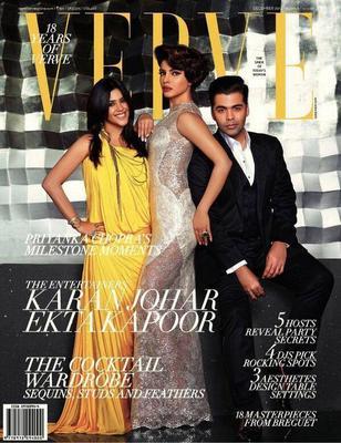 Ekta,Priyanka And Karan On The Cover Of Verve December 2013 Issue