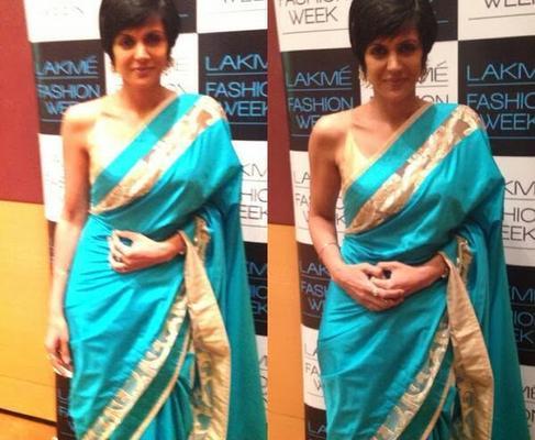 Mandira Bedi In Saree At Lakme Fashion Week 2014 Event