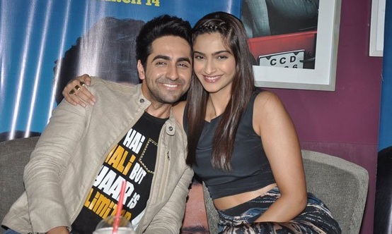 Ayushmann And Sonam Posed For Camera During The Promotion Of Bewakoofiyaan At Cafe Coffee Day