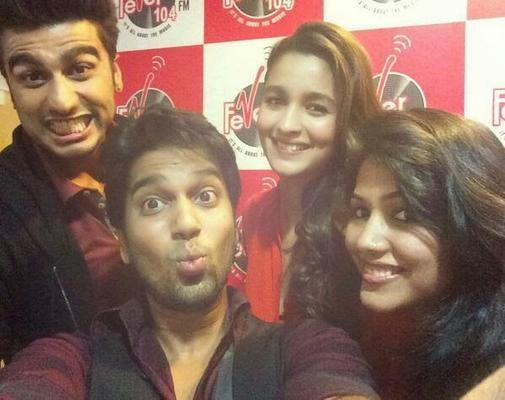 Alia And Arjun Promoting Their Upcoming Movie In 104 FM Radio Station