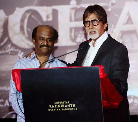 Big B And Others Celebs At The Launch Of The Film Kochadaiiyan Of Rajni At Mumbai