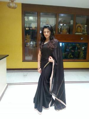 Radhika Kumaraswamy Fashionable Look In Black Saree Photo Shoot For Her Next Project Rudra Thandava