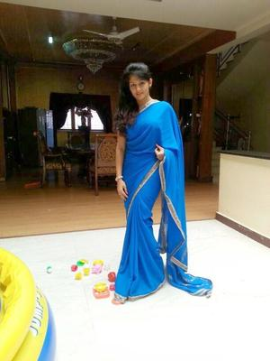 Radhika Kumaraswamy Glamour Look In Blue Saree Posed For Her Next Project Rudra Thandava