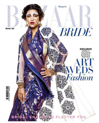 Shruti Haasan Gorgeous Look On The Cover Of Harper's Bazaar Bride Magazine May 2014
