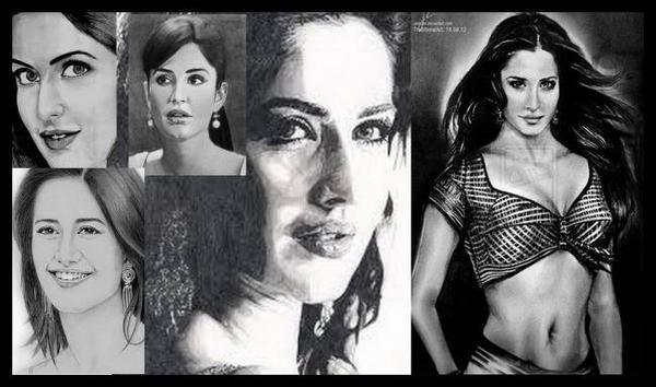 Katrina Kaif - The Hot Bombshell Sexy And Bold Look Sketched Painting Photo Still