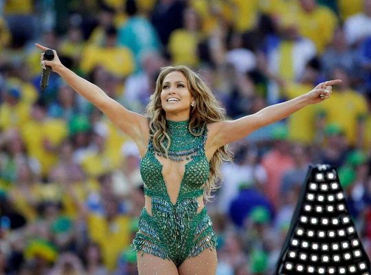 Jennifer Lopez Dressed In A Low-Cut Green Outfit At FIFA World Cup 2014 Opening Ceremony