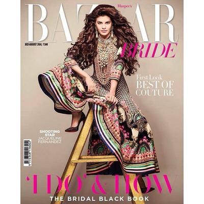 Jacqueline Fernandez Bazaar Bride Magazine Cover July 2014