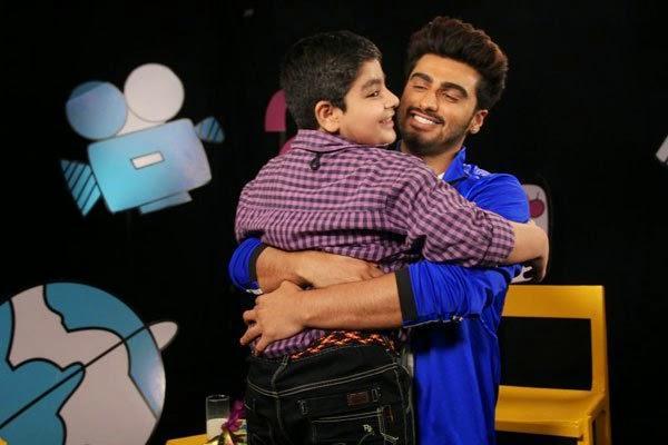 Arjun Kapoor Hugs Sadhil Kapoor On The Set Of Disney's Chat Show Captain Tiao