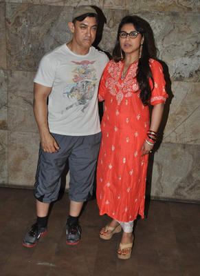 Aamir Khan And Kiran Rao At Mardaani Screening