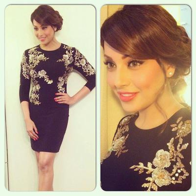 Bipasha Basu In Black Floral Short Dress For Promotion Of Creature 3D In Dubai