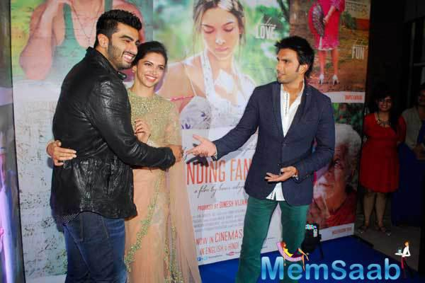 Deepika,Ranveer And Arjun Celebrate Success Of Film Finding Fanny In Mumbai