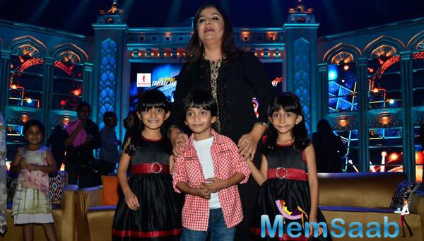 Farah Khan Snapped With Triplets