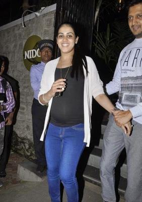 Genelia On Happy Mood Spotted At Nido Restaurant For Dine Out