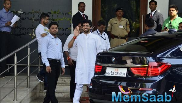 Chairperson Of The Shiv Sena Aditya Thackeray Snapped During He Leaves For Nasik