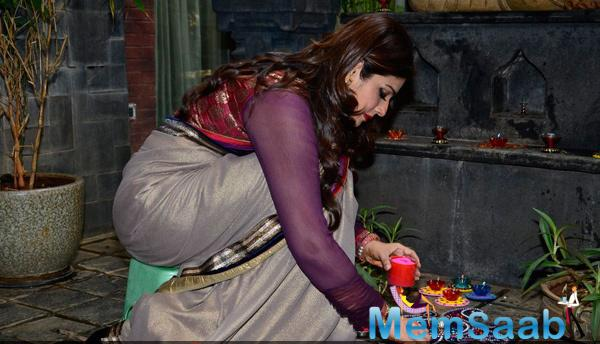 Raveena Tandon Snapped In 2014 Diwali Celebrations