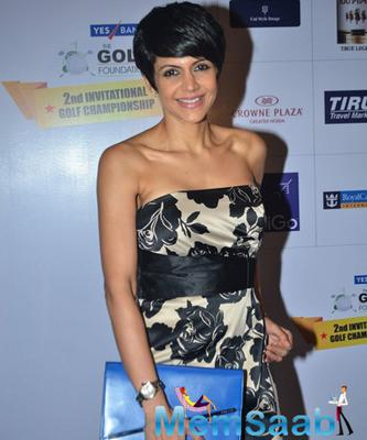 Mandira Bedi Strikes A Smiling Pose During Yes Bank Golf Foundation Event