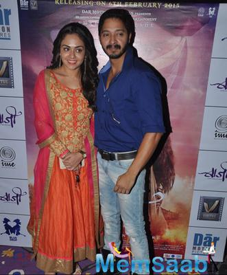 Amruta Khanvilkar Posed With Shreyas Talpade During The Trailer Launch Of Baji