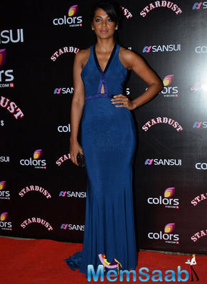 Mugdha Godse In Blue Attire Sizzling Look At Sansui Colors Stardust Awards 2014