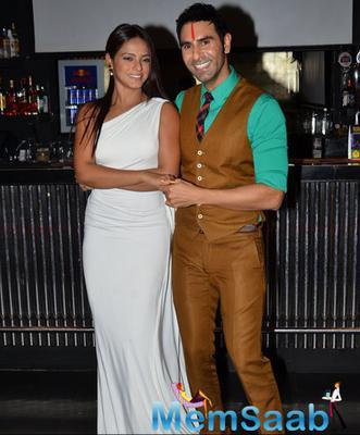 Neetu Chandra And Sandip Soparrkar Posed During Sandip Soparkar 2014 Christmas Party