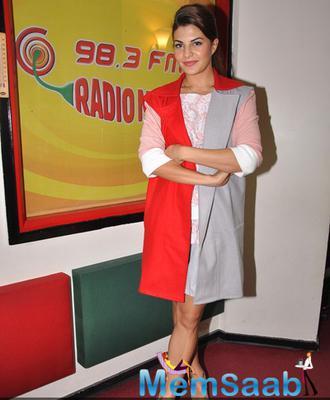 Jacqueline Fernandez Spotted At Radio Mirchi 98.3 FM For Roy Promotion