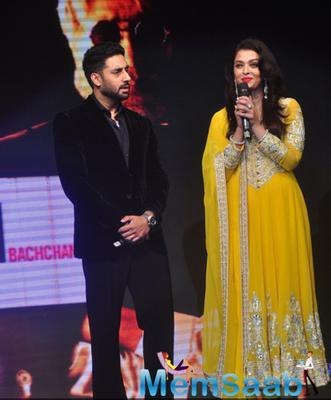 Abhishek And Wife Aishwarya Attended The Music Launch Of Their Dad Amitabh Bachchan Film Shamitabh