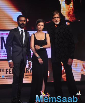 Dhanush,Akshara And Big B At The Trailer Launch Of Shamitabh And Celebration Of 1000 Film Of Music Composer Ilaiyaraaja In Mumbai