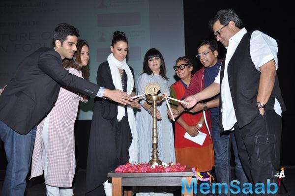 Neha Dhupia,Neeta Lulla,Subhash Ghai And Others Lighting The Candles At Whistling Woods International