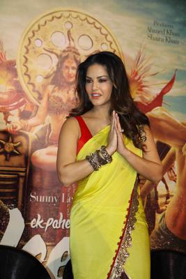 Sunny Leone Greets Media During The Trailer Launch Of Ek Paheli Leela Movie
