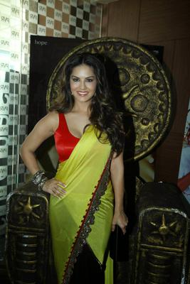 Sunny Leone Stunning Look In Yellow Saree With Red Blouse At The Trailer Launch Of Ek Paheli Leela Movie