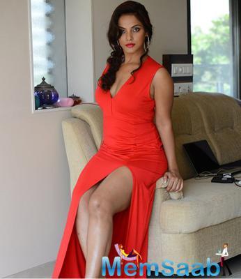 Neetu Chandra In Thigh Split Red Gown Sexy Look Still