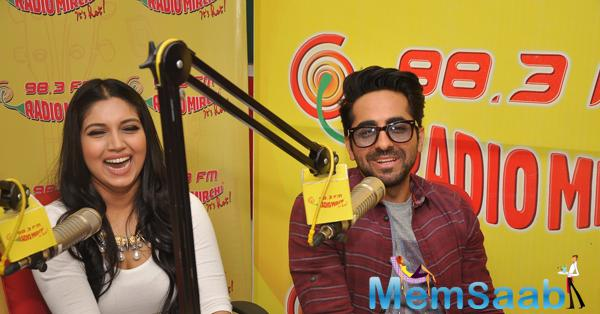 Ayushmann Khurrana And Bhumi Pednekar At Radio Mirchi FM Studio