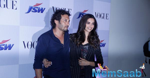 Deepika Padukone Cool Pose With Director Homi Adajania At The Launch Of Short Film My Choice