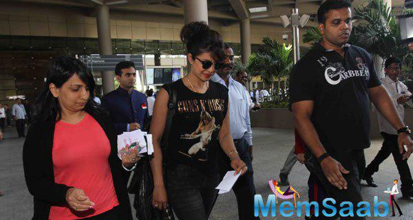 Priyanka Chopra Snapped At Mumbai International Airport