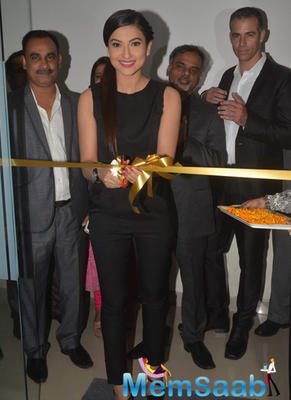 Smiling Gauhar Khan Cuts The Ribbon During The Launch Of Laser Skin Clinic