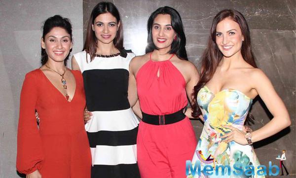 Manjari Phadnis,Simran Kaur Mundi,Sai Lokur And Elli Avram Clicked During The Screening Of Kis Kisko Pyaar Karoon Movie