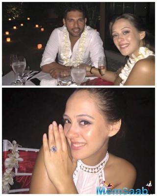 Cricket Star Yuvraj And British Model Hazel Keech Got Engaged In Bali