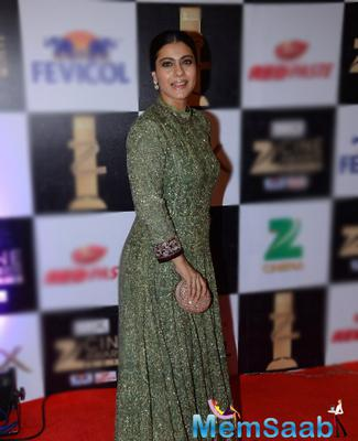 Evergreen Kajol Devgan wore a Manish Malhotra Anarkali with her hair pulled back.