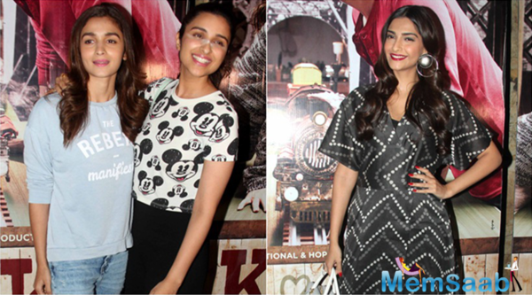 Sonam Kapoor, Alia Bhatt and Parineeti Chopra stepped out to show Arjun Kapoor their support, as they attended the film Ki and Ka special screening.