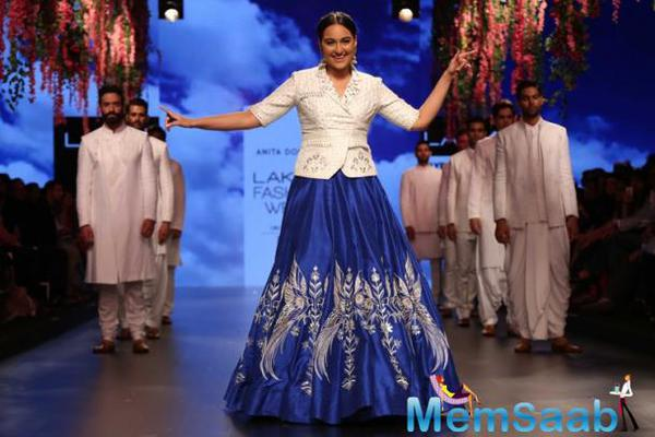 Dressed in while jacket-choli and royal blue skirt, Sonakshi said white will be her colour this summer.