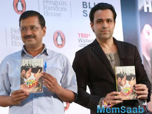 Delhi chief minister Arvind Kejriwal and actor Emraan Hashmi at the launch of a book, The Kiss of Life.