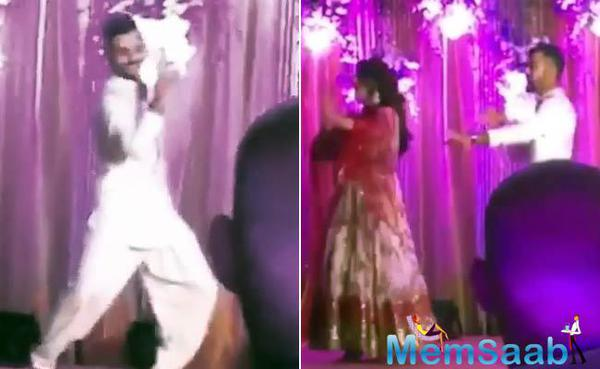 Virat Kohli shakes a leg with Sonakshi at Rohit Sharma's Sangeet