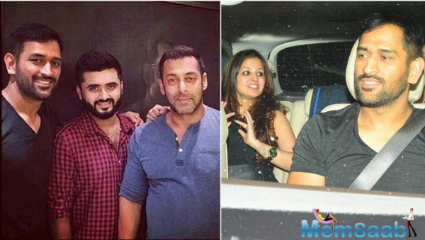 Dhoni along with wife Sakshi pays Salman Khan a late night visit