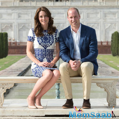 The Duke and Duchess posed at the Taj Mahal's famous stone bench, affectionately known as 'Lady Di's Chair' .