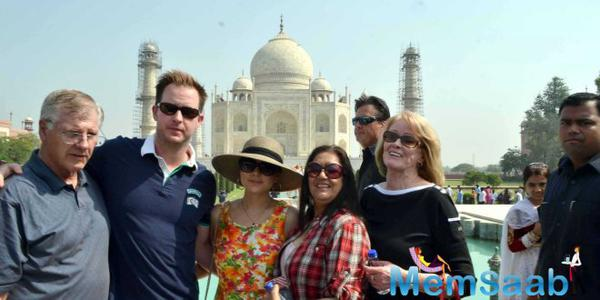 Preity Zinta married Gene Goodenough in Los Angeles in February 29, Before her wedding reception which held on tomorrow, she travelled to the Taj Mahal with her family.