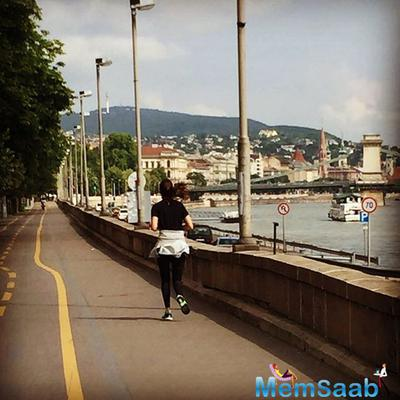 Anushka, who is acting as a wrestler in the movie, kept fit by running on early morning jogs in the city and she definitely loved it.