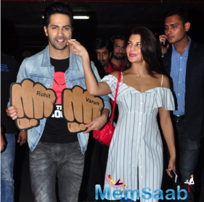 Jacqueline and Varun spotted at Mumbai airport