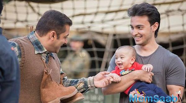 Salman Khan with nephew Ahil while shooting for Tubelight in Manali