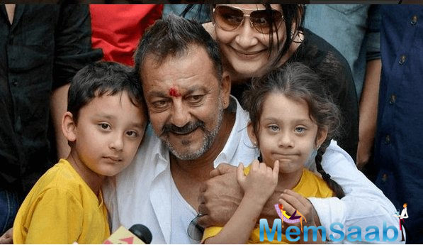Sanjay Dutt, who had been away from his children – twins Shahraan and Iqra – for three years due to his incarceration, is fixing up for lost time.