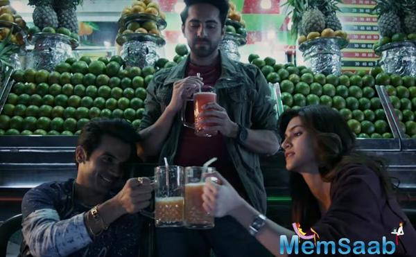 Bareilly Ki Barfi new poster: Rajkummar draped in a saree,  Kriti and Ayushmann look at him