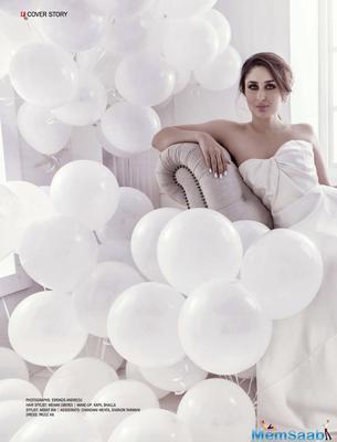 Kareena Kapoor latest magazine photoshoot: Looking stunning in a nude coloured spaghetti dress